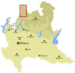 Valchiavenna, mappa Lombardia