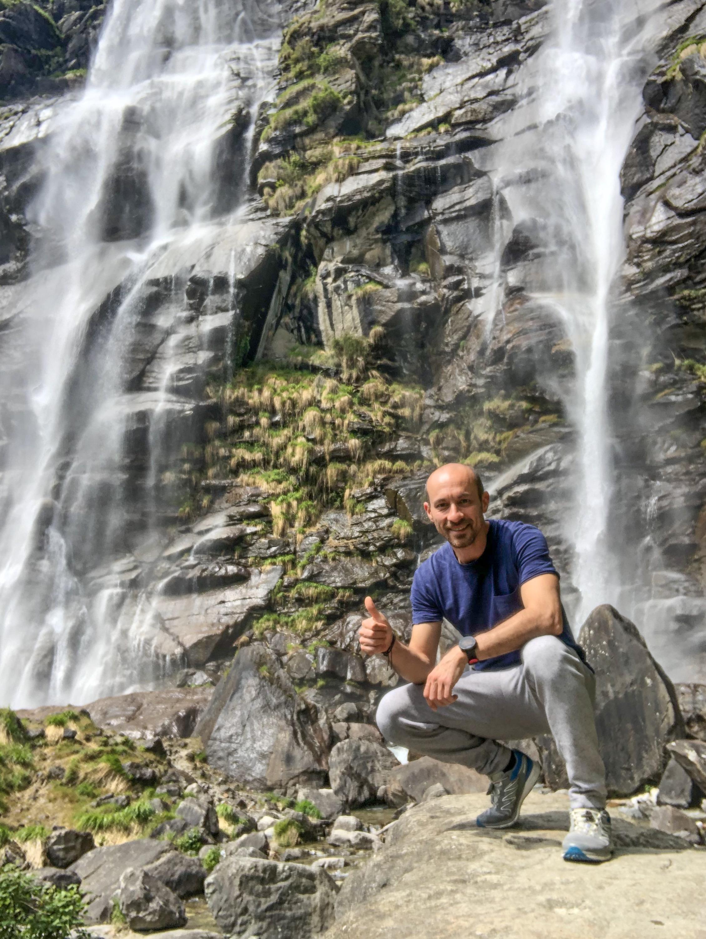 Io alle cascate dell'Acquafraggia, Piuro