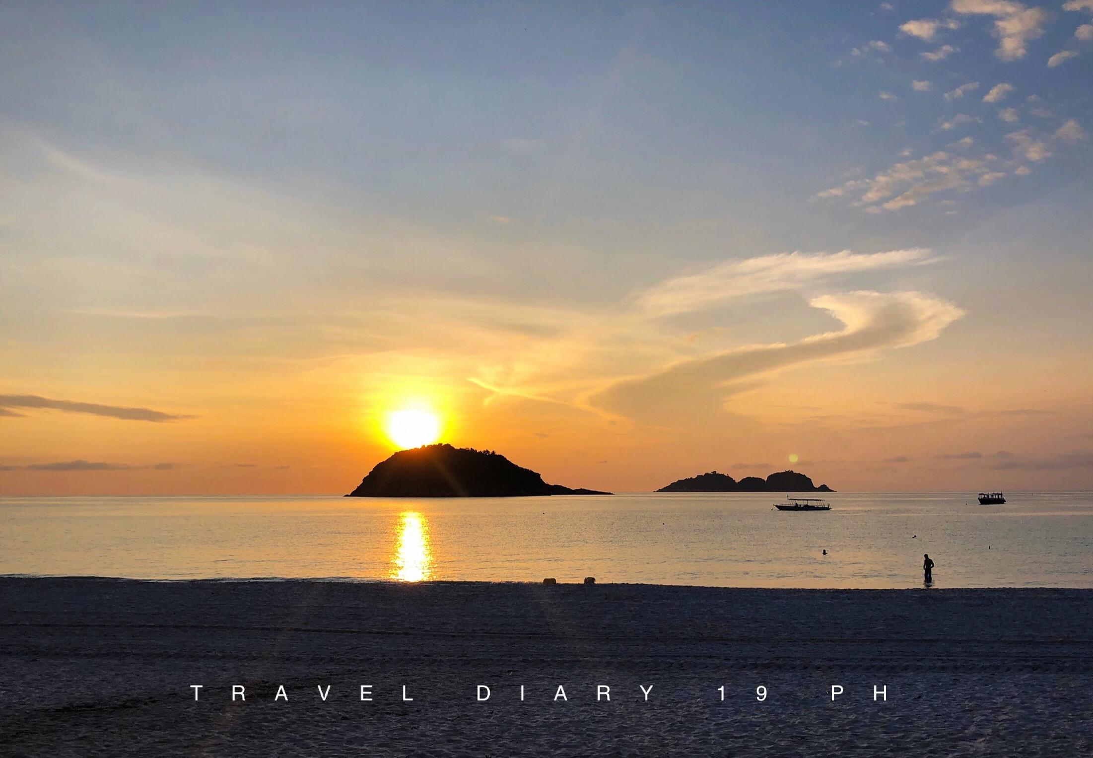 Tramonto a long beach sull isola di Redang in Malesia