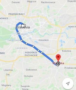 La distanza stradale tra Cracovia e Wieliczka