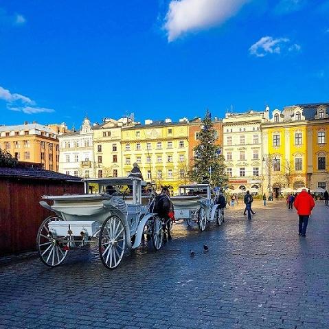 La piazza principale di Cracovia